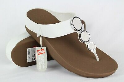 ede3f2f880e New Fitflop Women s Halo Toe Thong Wedge Sandals 10 Urban White   I42-194-