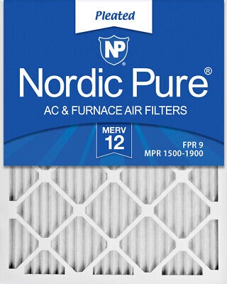 Nordic Pure 16x19x1 MERV 12 Pleated AC Furnace Air Filters 4 Pack