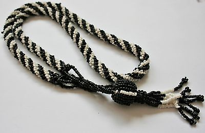 Vintage Glass Tassel Necklace / Micro / Seed Glass Beads