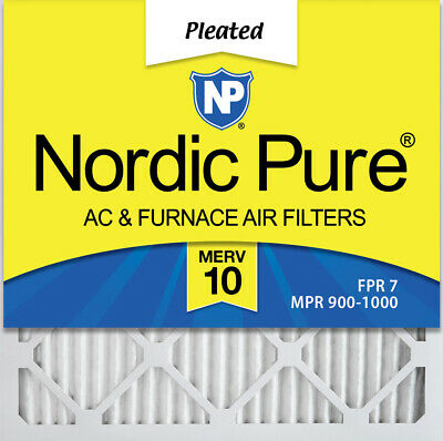 Nordic Pure 21x21x1 MERV 10 Pleated AC Furnace Air Filters 4 Pack