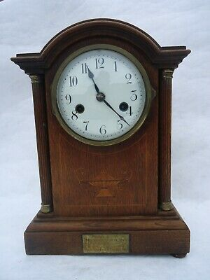 Antique Edwardian Presentation Chiming Mantle Clock. Spares Or Repair.