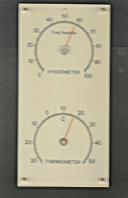 TOP OVP Uralte 1950er Jahre Hygrometer + Thermometer Station 115 x 230 mm