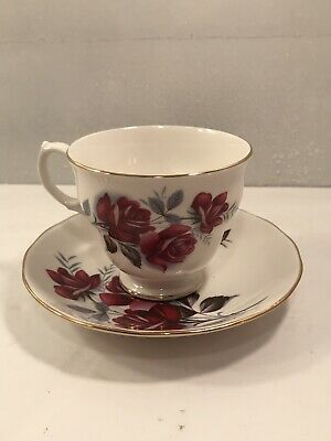 Vintage Red Floral Tea Cup & Saucer - Queen Anne Bone China - England