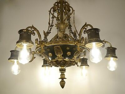 Antique Large 6 Lights Brass French Empire Green Varnish Chandelier Old Lamp