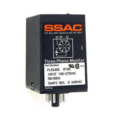 NEW SSAC PLR240A 3-Phase Voltage Monitor 190-270VAC 50/60Hz 5A Res. @ 240VAC