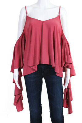 b0afbf03e1f27 Leith Womens Cold Shoulder V-Neck Ruffle Sleeve Blouse Shirt Top Pink Size  2XL