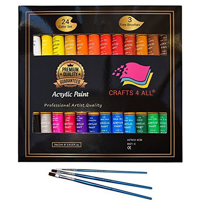 Acrylic paint 24 Set by Crafts 4 All® For Paper,canvas,wood,ceramic,fabric &...