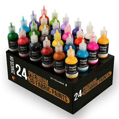 ⭐24 Bottles of 3D Fabric Paint Zenacolor - Squeeze The Tubes (29mL) to Apply...