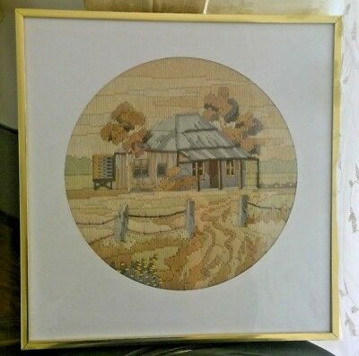 Embroidery tapestry needlework picture housecountryside trees NOT frame-see info