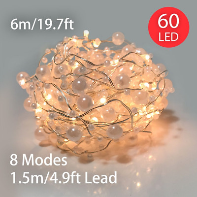 String Lights Battery Operated 60 LED 6M Pearl Fairy with 8 Functions &...