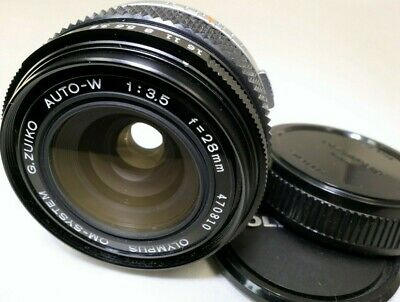 Olympus Zuiko OM Auto-W 28mm f3.5 Manual Focus Lens wide angle - excellent