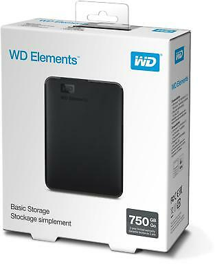 WD Elements 750GB Portable Hard Drive 750GB Capacity Up To 5Gbps Transfer Speed