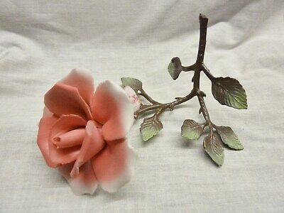 beautiful 1960s porcelain pink rose metal stem made by capodimonte italy retro