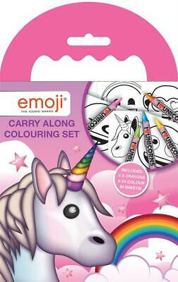 Emoji Unicorn Carry Along Colouring Set Crayon Travel Pack Kids Party Bag Filler