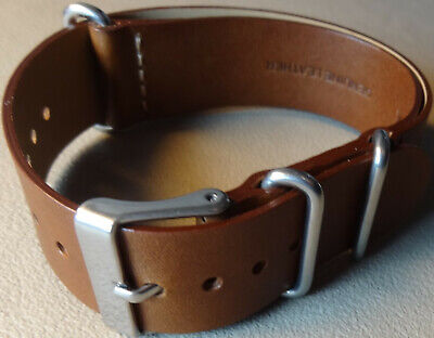 New Mens Easy ONE PIECE 20mm LONG Timex Watch Band Brown Leather Weekender