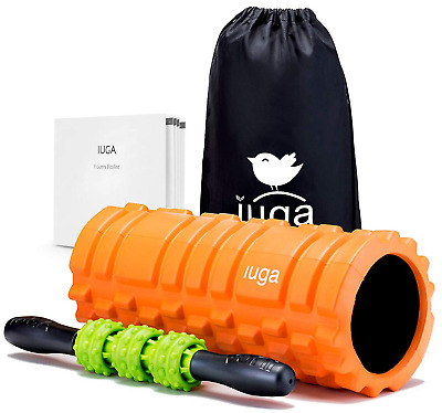 IUGA Foam Roller and Massage Stick 2 in 1 Set for Deep Tissue Muscle...