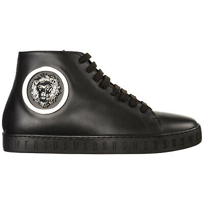 b9053b14ab4 Versus Versace Chaussures Baskets Sneakers Hautes Homme En Cuir Lion Head  No 071