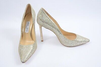 96d22dee85fa Jimmy Choo Romy champagne 6 36 glitter slip on pointed toe pump shoe NEW   675
