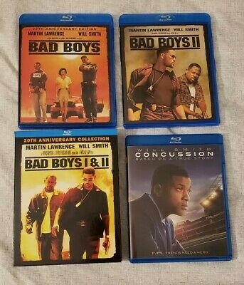 Concussion, Bad Boys 1 & Bad Boys 2 Box Set Blu-Ray Movie Lot Feat. Will Smith