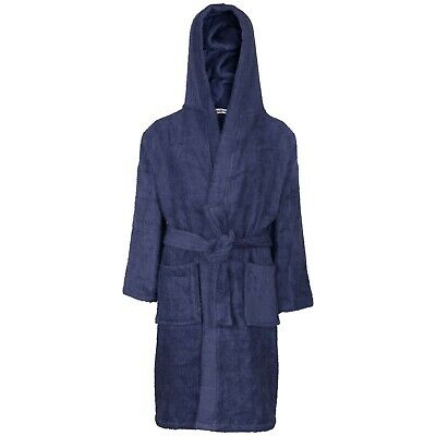 Kids Girls Cotton Soft Terry Hooded Navy Bathrobe Luxury Dressing Gown 2-13 Year