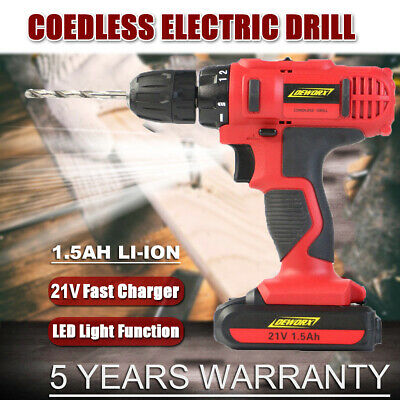 21V Cordless Combi Drill Dual Speed + Li-Ion Battery + Fast Charge + Case DEWORX