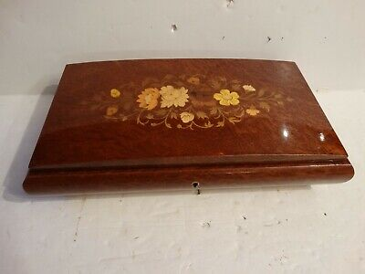 Vintage Reuge swiss italy music box inlaid flowers mahogany large size!
