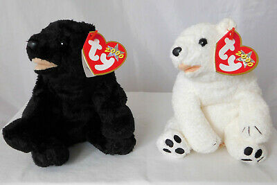 TY Beanie Baby Cinders the Black Bear   Aurora the Polar Bear Excellent  with MT 385cdcce4ff