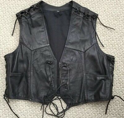 Mans Black Lined Leather Waistcoat Biker Style With Lacing