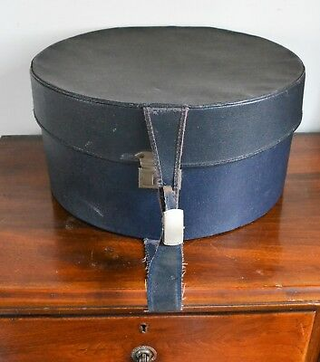 Large Vintage Black Hat Box with Blue Fabric Interior & Handle