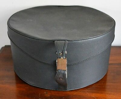 Large Vintage Antler Hat Box with Blue Fabric Interior & Handle