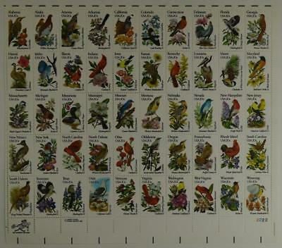 Us Scott 1953-2002 Pane Of 50 State Birds And Flowers 20 Cent Face Mnh