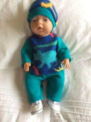 """Doll Clothes to fit 17"""" Baby Born Boy doll ~ 3 Piece - Blue / Dinosaurs"""