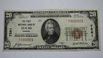 $20 1929 Lucas Kansas KS National Currency Bank Note Bill Ch. #7561 VF+ RARE!