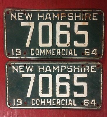 1964 Commercial New Hampshire License Plates Pair 7065