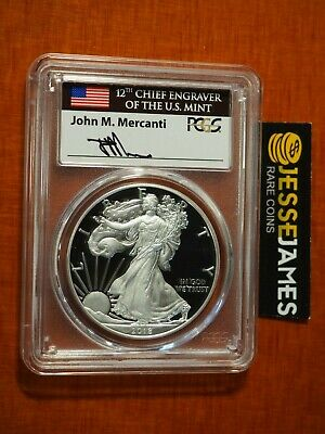 2018 S Proof Silver Eagle Pcgs Pr70 Dcam Flag Mercanti First Day Of Issue Fdi Nr