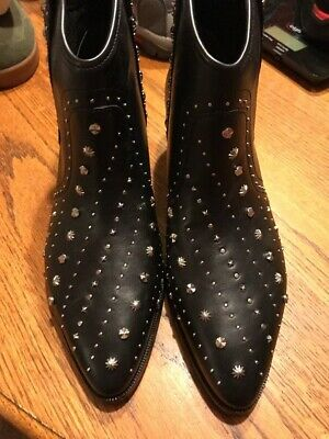 52127f5040cd9 Sam Edelman Brian Leather Studded Western Booties 8 M Black Leather New  195