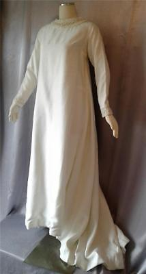 Miss Betsy Vintage 1960s  REGENCY BEADED IVORY RAW SILK DRESS WEDDING GOWN