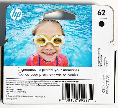 New in Retail Box HP #62 Black Ink Cartridge 62 C2P04AN