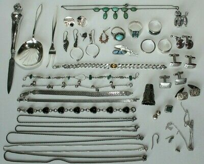 Vtg Lot Of Sterling Silver Earrings Rings Necklaces Jewelry MM Rogers Beau 236g
