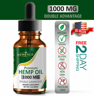 1000mg Full Spectrum Hemp Oil Extract Drops Pain Relief Anti Anxiety CBD Sleep