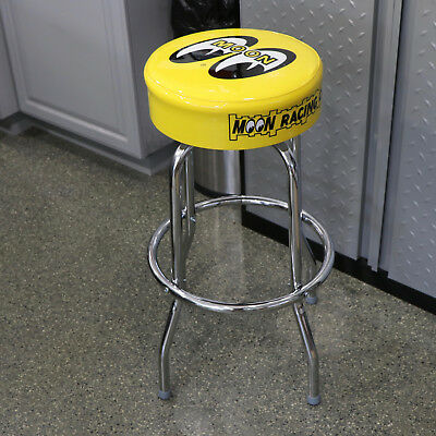 PitStop Furniture Rolling Garage Stool w Red Seat and Chrome Frame RGS3500R