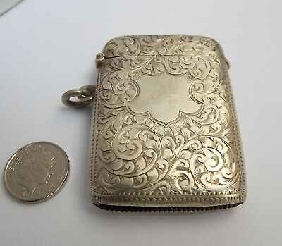 Beautiful Clean Decorative English Antique 1905 Solid Sterling Silver Vesta Case
