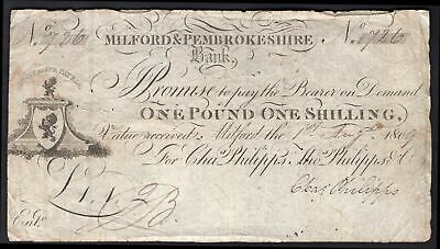 Milford & Pembrokeshire Bank. 1 pound 1 shilling. Milford. Aug 180(9). For; C...