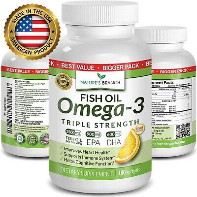Nature's Branch Fish Oil Omega 3 Supplement 2500mg HIGH POTENCY Lemon 180 Count