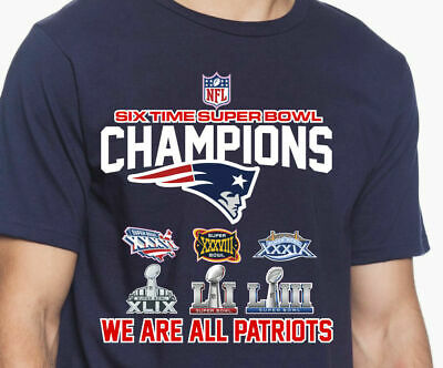 New England Patriots 6 Time Super Bowl Champions NFL Graphic T-Shirt Men's