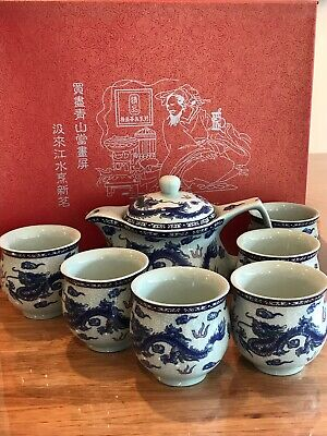 Antique Chinese Porcelain Tea set In Box    With Chinese lucky dragon