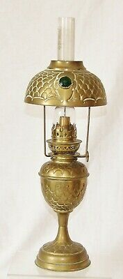 "Vintage Oil Lamp~Bijou Brass Student Oil Lamp With Matching ""jeweled"" Shade"