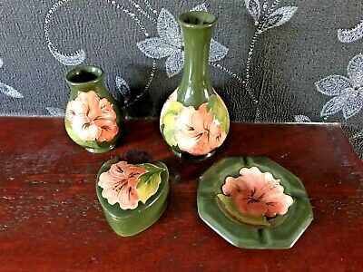 Moorcroft 4 piece lot green with orange / coral  hibiscus flowers