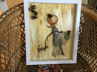 """Pebble Art Picture Box Frame 28 cm X 23 cm  """" Afternoon stroll """""""
