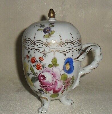 C19Th Dresden Porcelain Chocolate Cup And Cover On Paw Feet.